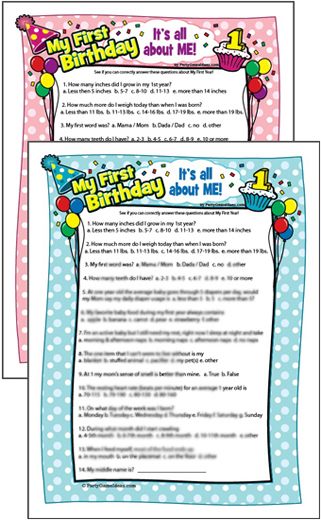 Baby's First Birthday Printable Game