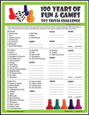 Printable 100 Years of Toys & Games Trivia
