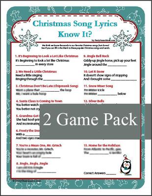 Christmas Song Lyrics Know It Game Christmas Carol Game
