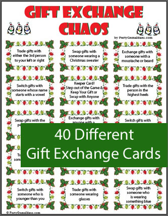 Gift exchange chaos printable holiday game for Mens gift exchange idea