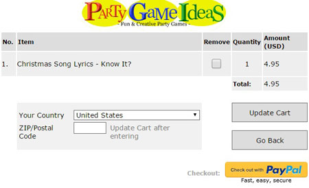 Purchase Printable Games using Credit Card or PayPal Account